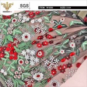 W1830 Custom make floral pattern lace fabric, embroidery french lace
