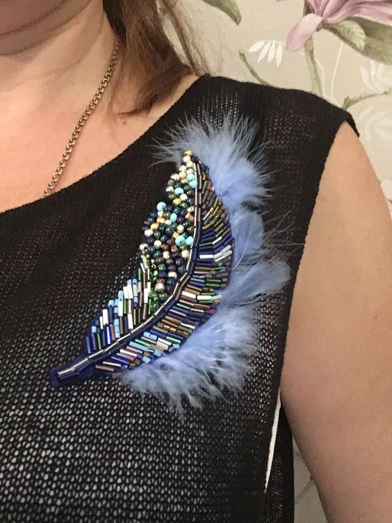 Exquisite hand-beaded brooch
