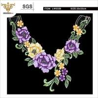 LW0336 Embroidery flower front neck collar lace for garment accessories